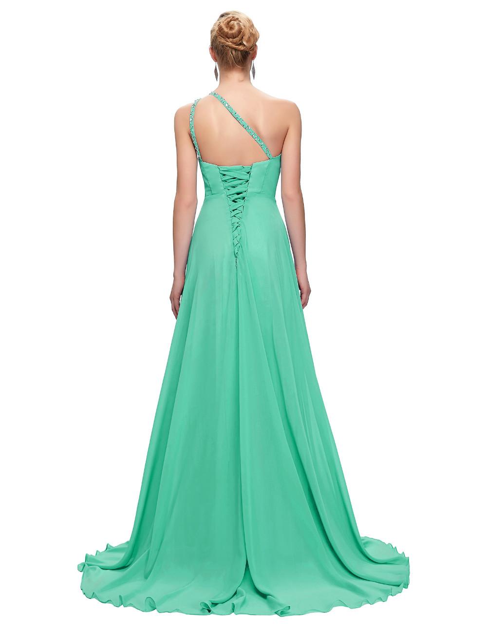 Elegant One Shoulder Long Bridesmaid Dress 12