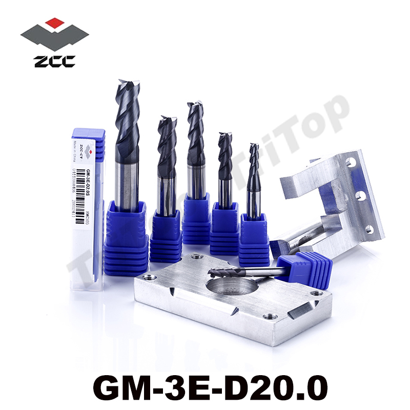 cnc milling tools GM-3E-D20.0 high speed milling cutter HRC50 carbide 20mm 3 flute TiAIN coated end mill zcc.ct high precision machining zcc ct al 3e d20 0 solid carbide 3 flute flattened cnc end mill 20mm straight shank milling cutter