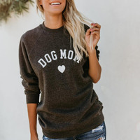 Drop Shipping DOG MOM Funny Letter Print Sweatshirt For Women Full Sleeve Casual Tops Female Autumn Clothes Feminina Sweatshirts 1