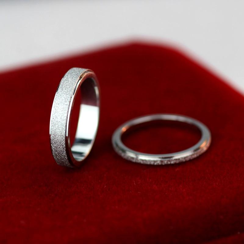 """""""YUN RUO 2017"""" sidabro spalvų matinis poros žiedas moters - Mados papuošalai - Nuotrauka 2"""