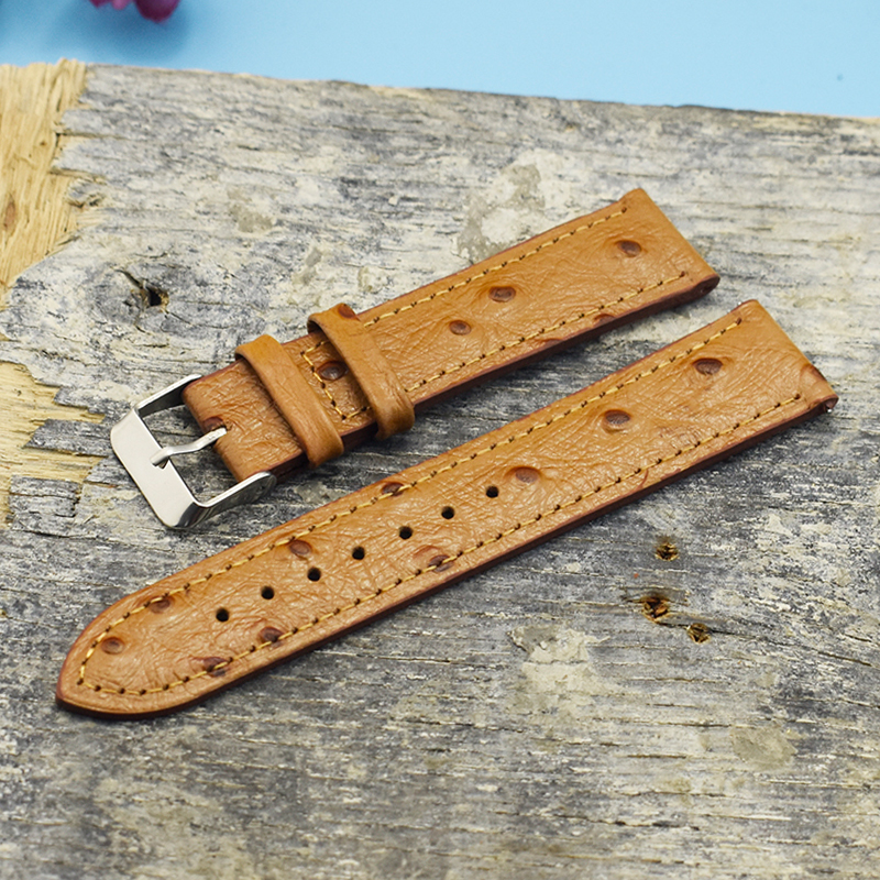 Onthelevel Ostrich Pattern 18mm 20mm 22mm Watch Strap Genuine Leather Watchbands Yellow Ostrich Leather Watch Strap #BF