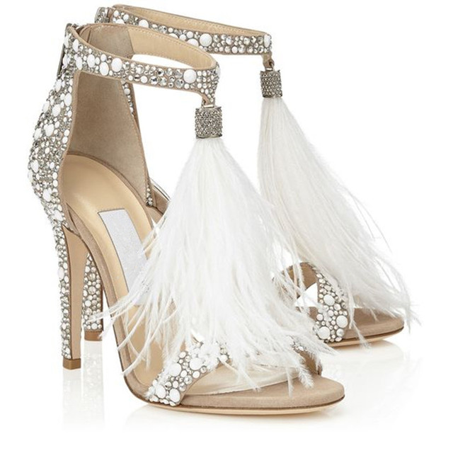 Mancuello Glam Crystal High Heels Bridal Wedding Shoes Front Feathers Ankle Strap Fringe Sandals Women Hot