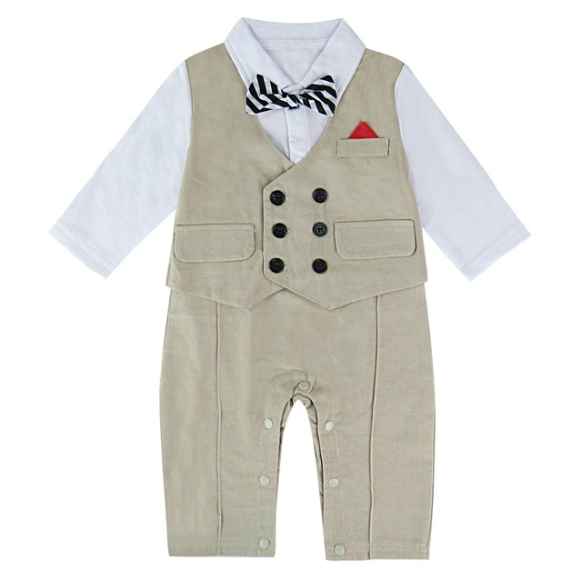 43ddd9e550e Baby Boys Gentleman Romper Infant Suspender Jumpsuit Newborn Wedding  Clothes with bowtie Toddler Long Sleeve Winter Clothing