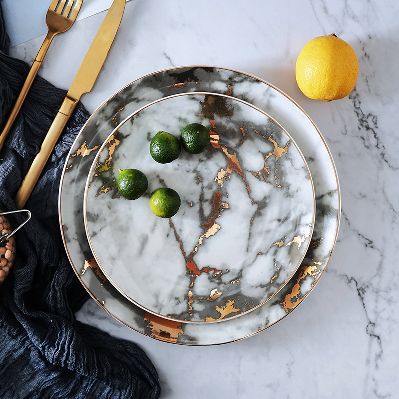8 And 10 Inch Gold Inlay Marble Ceramic Plate Unique