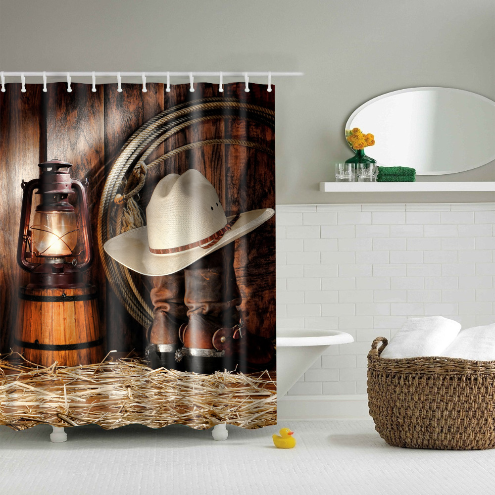 Western Style Cowboy Curtains Waterproof Bathroom Curtains Polyester  180x180cm Decoration With Hooks