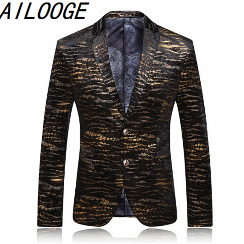 New fashion jacket gold seal tiger casual suit jacket men personality suit 2016 men in autumn