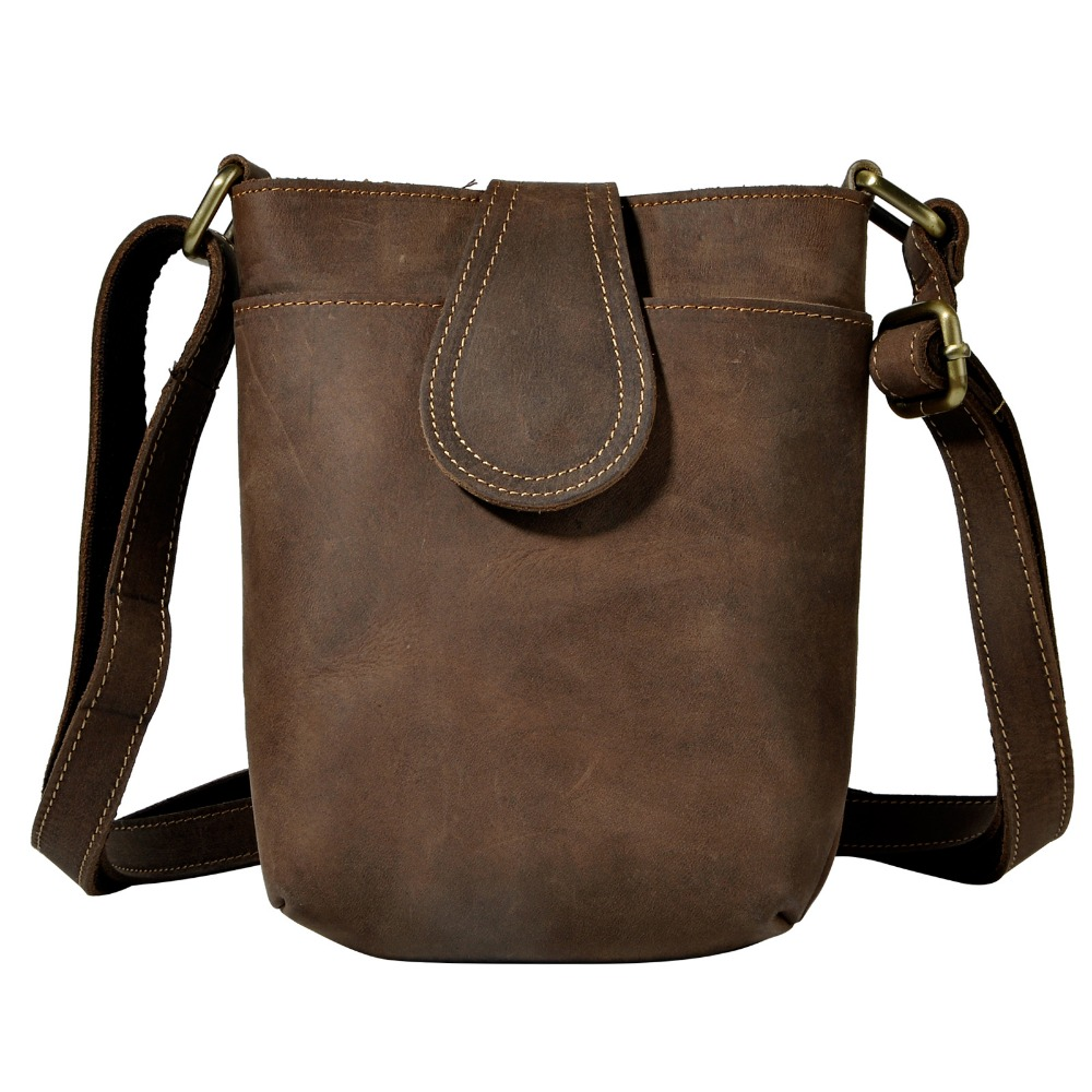 89a76885ea Crazy Horse Leather Male Design Small One Shoulder Messenger bag Cowhide  fashion Crossbody Bag 7