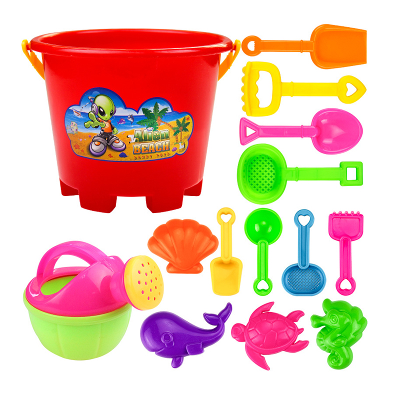 Sand Beach Toys Kids Summer Play Water Sand Bucket Shovel Toy Set Novelty Plastic Seaside Storage Sand Mould Tools 14pcs/set