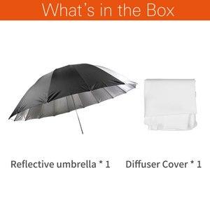 Image 2 - Godox студийный фотографический Зонт 60 дюймов 150 см черный серебристый отражающий зонт + большой диффузор для студийной съемки