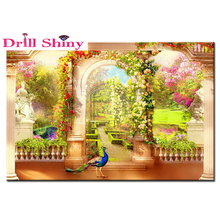 full bead strass embroidery garden in paradise diamond painting animal peacock living room decoration painting hand