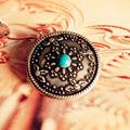 DIY Leathercraft Hardware 1''(25mm) Karaqusa Turquoise Stone Concho Antique Silver Finish #OP-59S