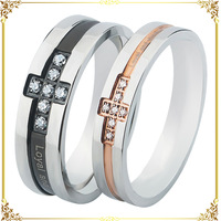 stainless steel jewelry black double color cross micro inlaid CZ lovers ring