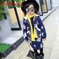 2016 New Arrival Baby Girls Warm Clothes Flowers Print Hooded Zipper Outerwear Tops Coat+Short Skirt 2 Pcs Suit Kids Girls Sets