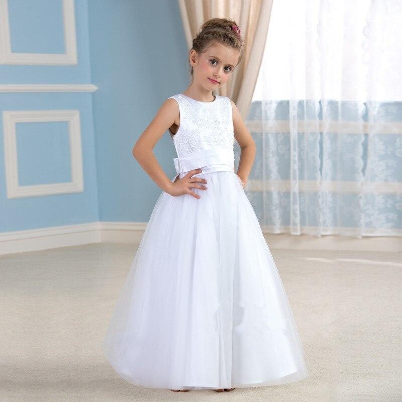 2015 Popular Simple flor blanca de la muchacha vestidos con encaje apliques  y perlas vestidos del