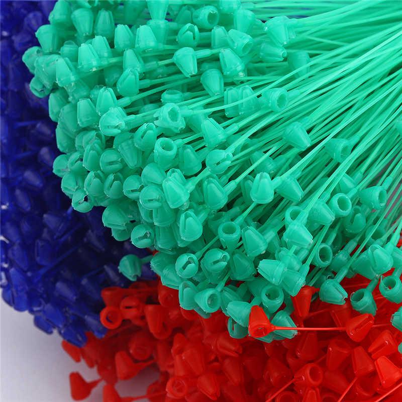 500 штук 5 дюймов бирка с петлей бирки для одежды петля замок Plastice безопасности защелкивающийся замок черные, красные, пурпурные, зеленые, синие, белые цвета