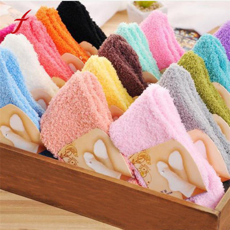 Hot Home Women Girls Soft Bed Floor   Socks   Fluffy Warm Winter Pure Color Coral velvet for Princess Holiday Birthday Gifts Vicky
