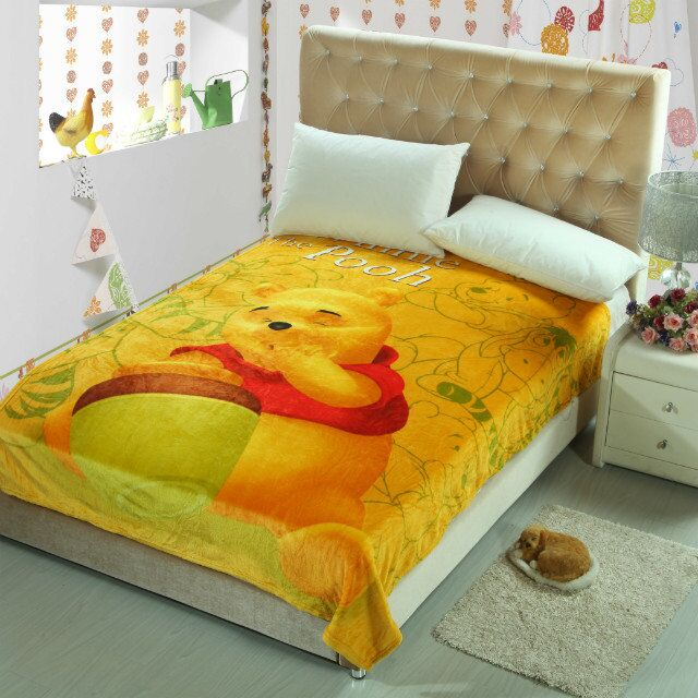 yellow winnie the pooh blankets throws bedding 150200cm size girls boys childrens kids bed home bedroom decoration flannel in blankets from home garden - Throws Bedroom