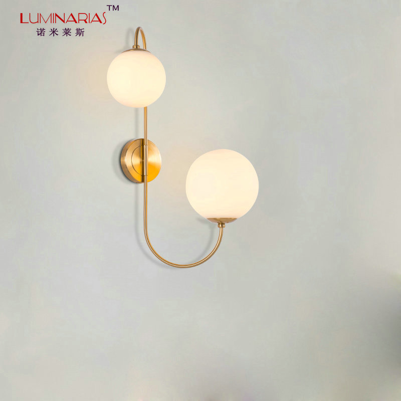 Modern Gold Finished Wall Light Glass Ball Shade Wall Lamp Bed Room Study Room Home Deco Lighting E27 AC 110V 220V modern lamp trophy wall lamp wall lamp bed lighting bedside wall lamp