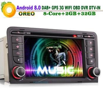 "7"" Android 8.0 DAB+ Sat Navi Autoradio WiFi 3G OBD DTV GPS CD Bluetooth RDS BT DVD Car Radio player for AUDI A3 S3 RS3 RNSE-PU"
