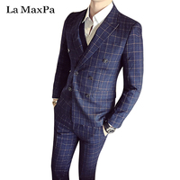 La MaxPa (jacket+pants+vest) Fashion male singer men suit autumn winter slim business suit fit groom party wedding dress suit