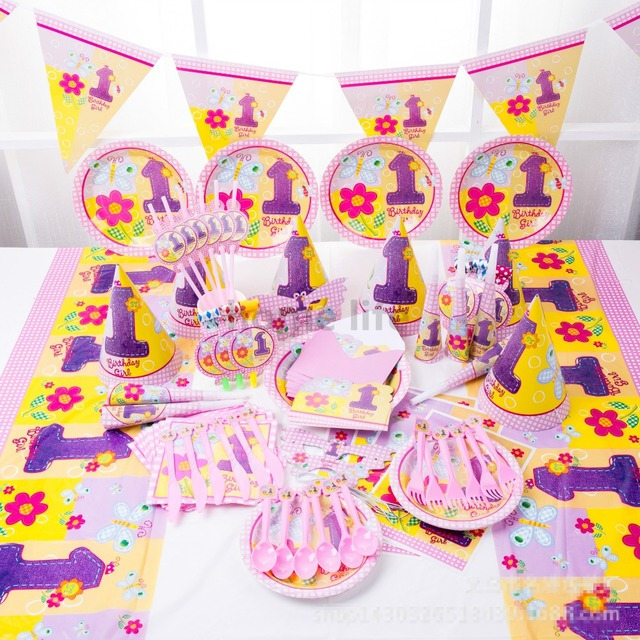 90pcs girl folwer Kids Birthday Decoration Set Princess Theme Party