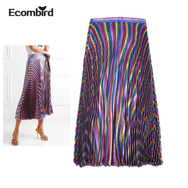 Ecombird Glitter Jupes Longues Bling Or Fils Arc-En-Rayé Jupe Plissée Femmes De Mode 2018 Printemps Été Femme Robes