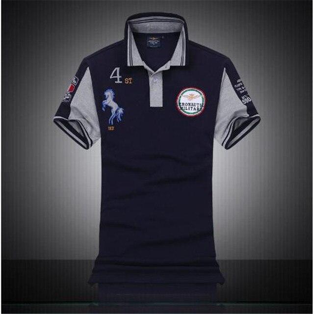 Lo nuevo 2016 verano estilo Australiano de Alta calidad AL POR MENOR AERONAUTICA MILITARE Camisa de POLO de Los Hombres de la Fuerza Aérea Uno Bordado