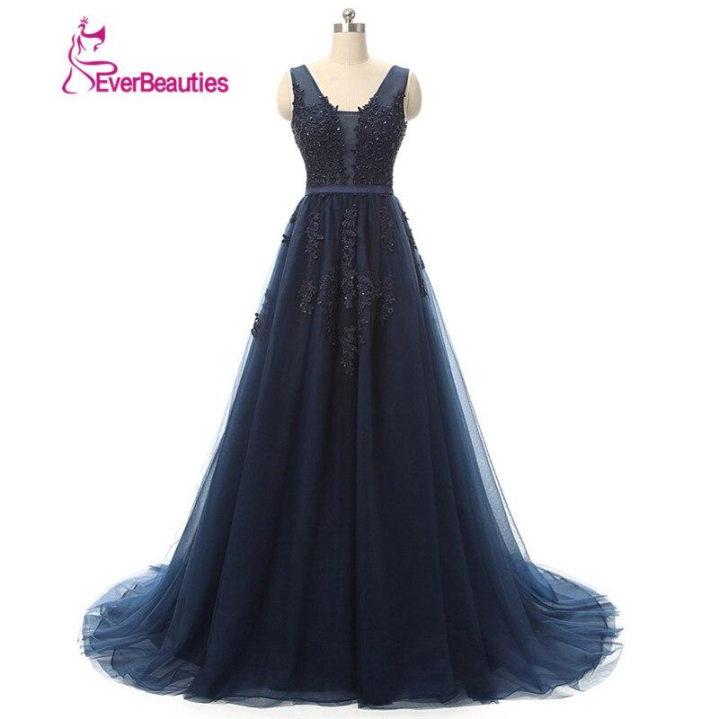 무료 배송 긴팔 웨딩 드레스 섹시 민소매 V 넥 네이비 블루 플로어 롱