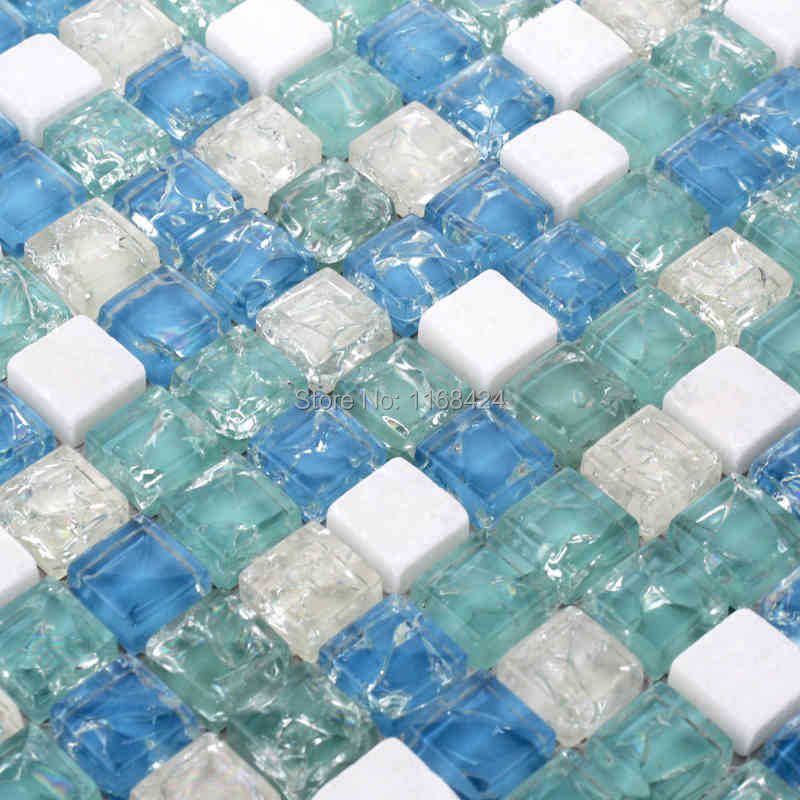 Ice Crackle Crystal Mosaic Tiles Blue Color Glass Mixed