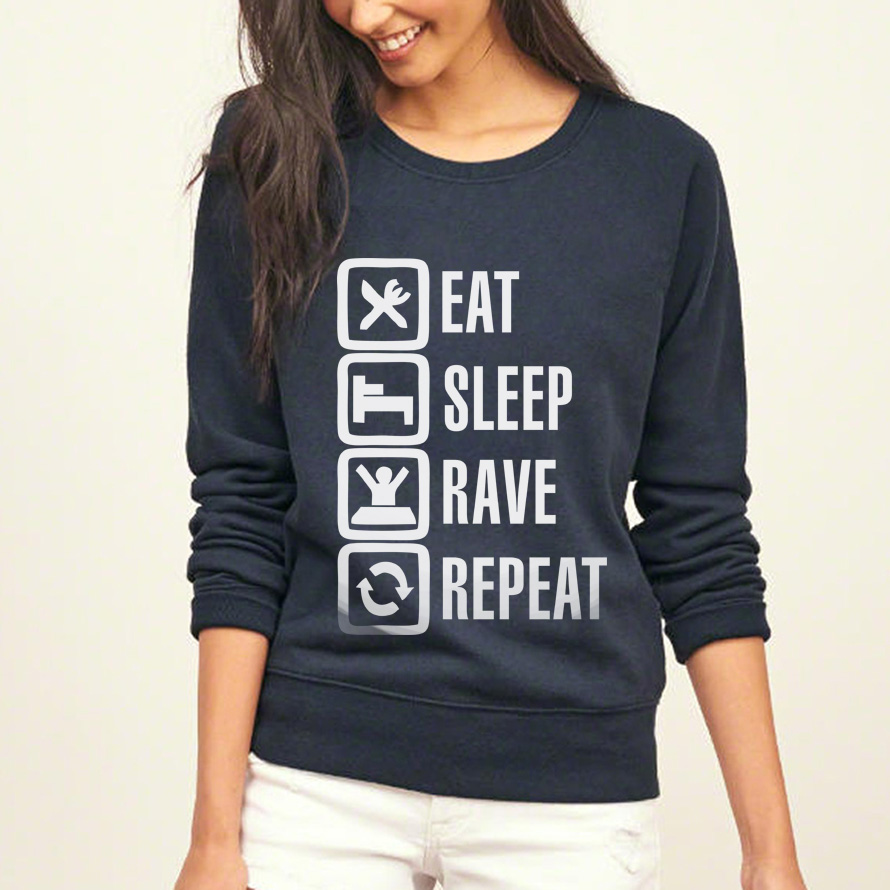 Eat Sleep Rave Repeat funny print pullovers 2017 autumn women hip-hop sweatshirts fashion brand tracksuits harajuku pink hoodies