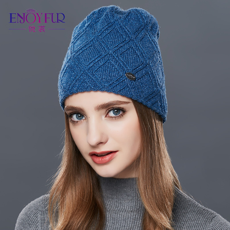 ENJOYFUR Knitted Wool   Beanies   Autumn winter hat for women fashion female ski   skullies     beanies   thick warm hat for girls