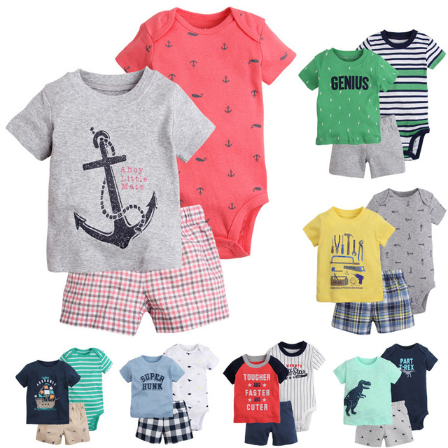 Новые приходят 2017 ребенка малыша мальчик комплект одежды лета дети мальчик одежда набор боди + футболка + шорты мальчик одежда новорожденный