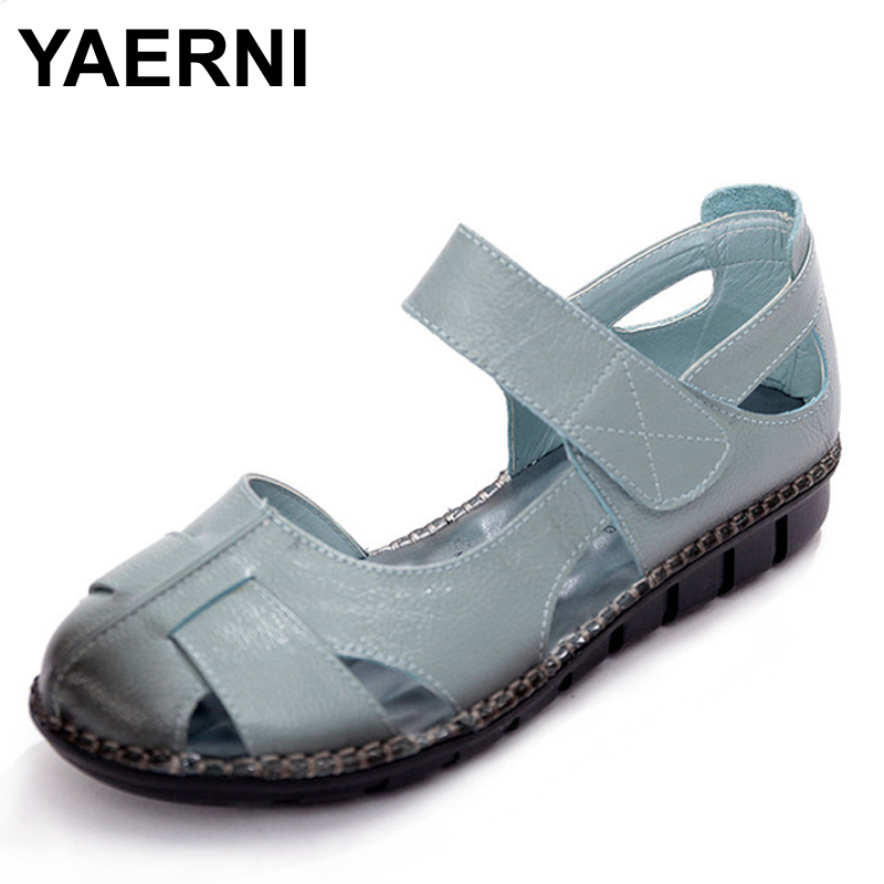 YAERNI Summer Women Shoes Woman Genuine Leather Flat Sandals Female Casual Open Toe Sandals Soft Outsole Women Sandals mmnun 2017 boys sandals genuine leather children sandals closed toe sandals for little and big sport kids summer shoes size26 31