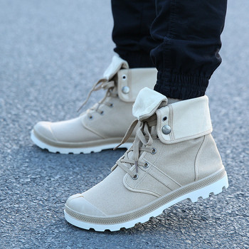 Merkmak Autumn Winter Men Canvas Boots Army Combat Style Fashion High-top Military Ankle Boots Men's Shoes Comfortable Sneakers 2