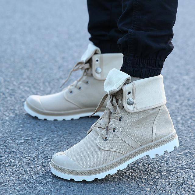 Otoño Invierno Merkmak botas de hombre de lona estilo militar de combate de moda botas de tobillo militares de alta calidad zapatos de hombre cómodos zapatillas de deporte