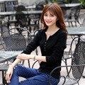 Обычный Черный Поло Рубашки Поло Женщины Плюс Поло 4xl Поло Кнопку Вниз Рубашки Обычная Топы Весна Feminina Mujer Camicia Донна