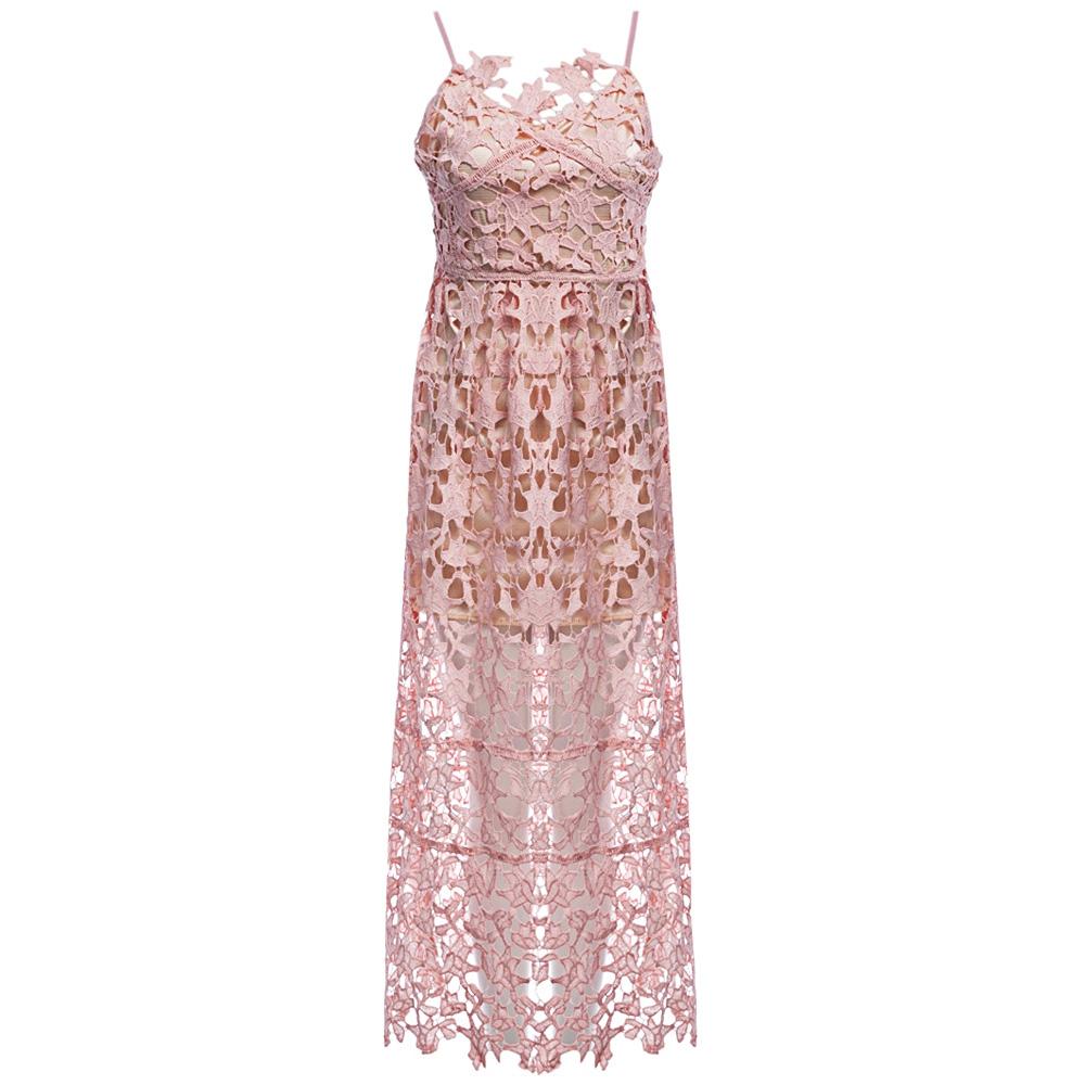 VESTLINDA Spaghetti Strap Backless Hollow Out Crochet Lace Dress Women Vestidos Mujer Robe Femme 2017 Summer Sexy Maxi Dress 6