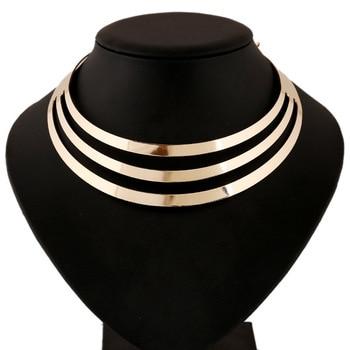 2017 w nowym stylu mody kobiety wielowarstwowe oświadczenie Punk złoty poszycia naszyjniki łańcuch luksusowy choker obroża naszyjnik YW276