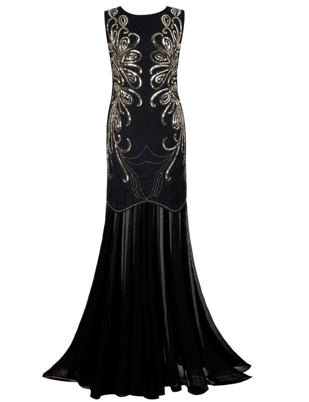 PrettyGuide Women 1920s Gown Sequin Long Flapper Evening Formal ...