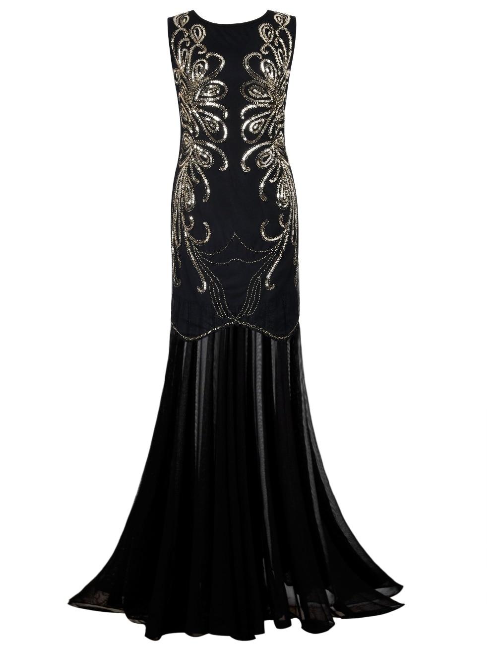 PrettyGuide Women 1920s Gown Sequin Long Flapper Evening