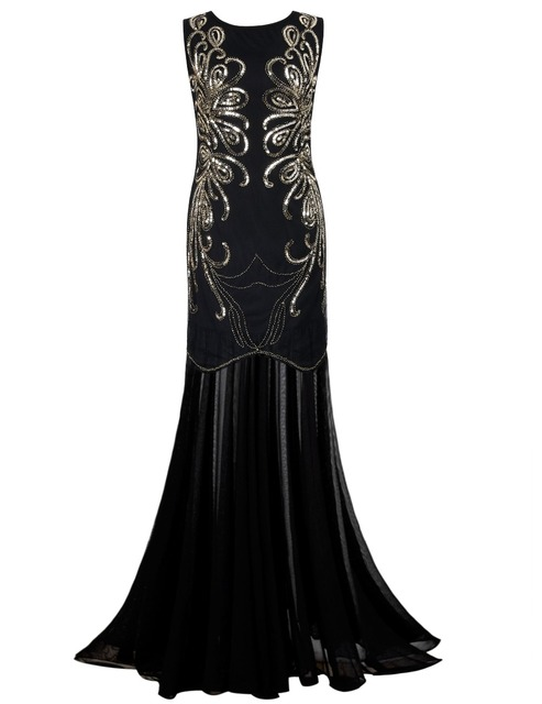 3a08290406 PrettyGuide Women 1920s Gown Sequin Long Flapper Evening Formal Dress  Cocktail Prom Ball Gown