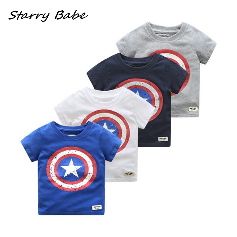 Cartoon Captain America Design Bavlněná chlapecká trička Dětská trička s krátkým rukávem Topy pro kojenecká batolata Oblečení Oblečení 2-6T
