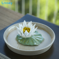 Tea pets hand picked ceramic flower ornaments Camellia white lotus water lily Zen incense sticks home decoration incense burner