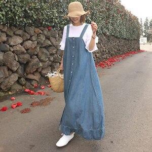 Женские длинные джинсы Johnature, свободные платья с оборками, повседневная одежда корейского размера плюс, однобортное джинсовое платье для ле...