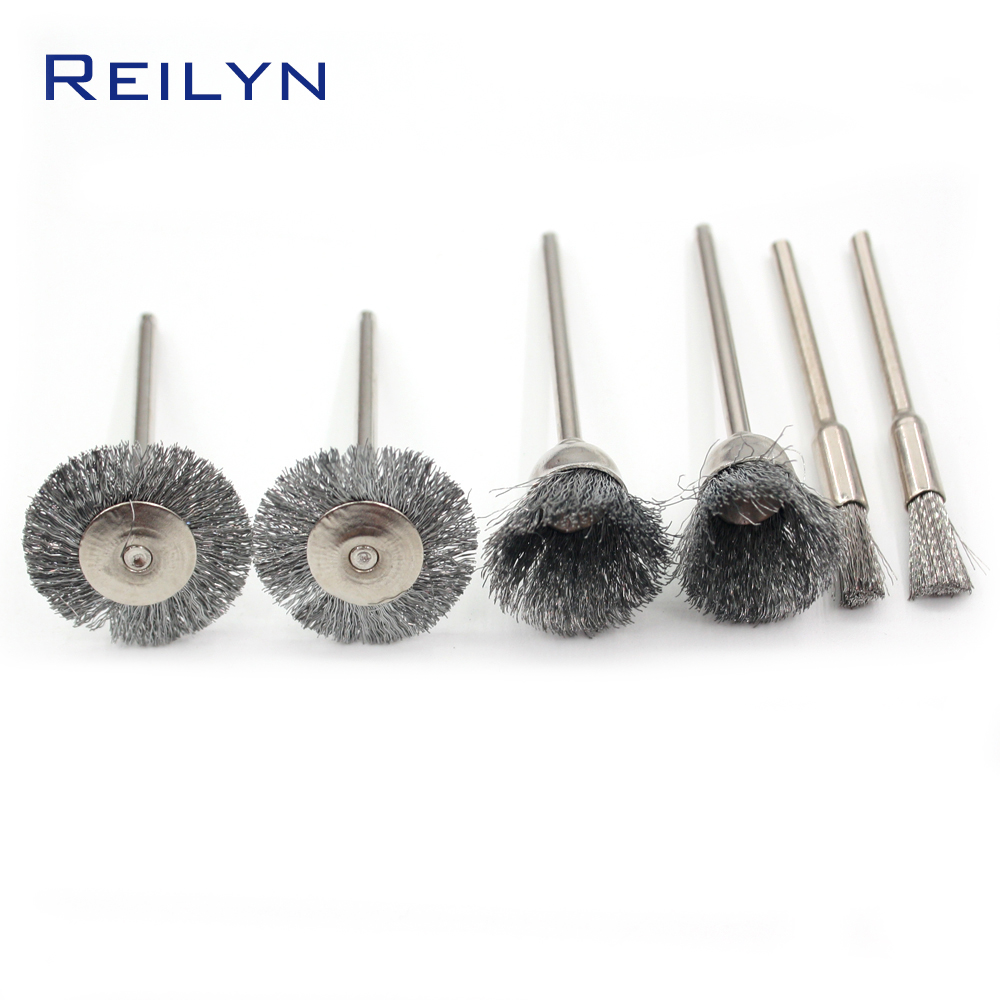 6pcs Stainless Steel Wire Brush Metal Wire Brush Roller Rust Removal Wood Working Bits Abrasive/polishing Bits Accessory