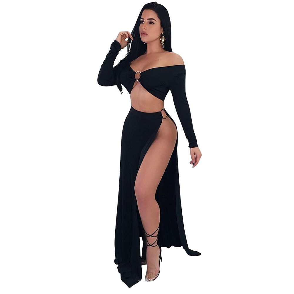 Summer Skirt Women 2 Piece Set Dress Sexy Long Sleeve Crop Tops + Side open Long Skirt Casual Women Party Club Wear Split Cloth
