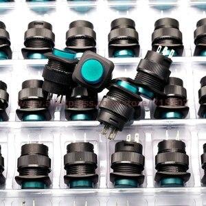 Image 1 - PHISCALE 20 قطعة مفتاح بـزر دفع R16 504BD 16 مللي متر مربع شكل غير قفل مع الأخضر ضوء 250v 3A 4 دبابيس