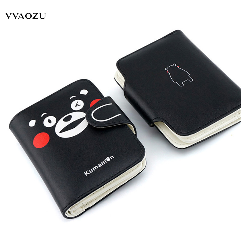 Fashion Anime Japan KUMAMON Wallet PU Student Short Purse Unisex Bear Credit Cards Holder Carteiras Notecase Purse Moneybag