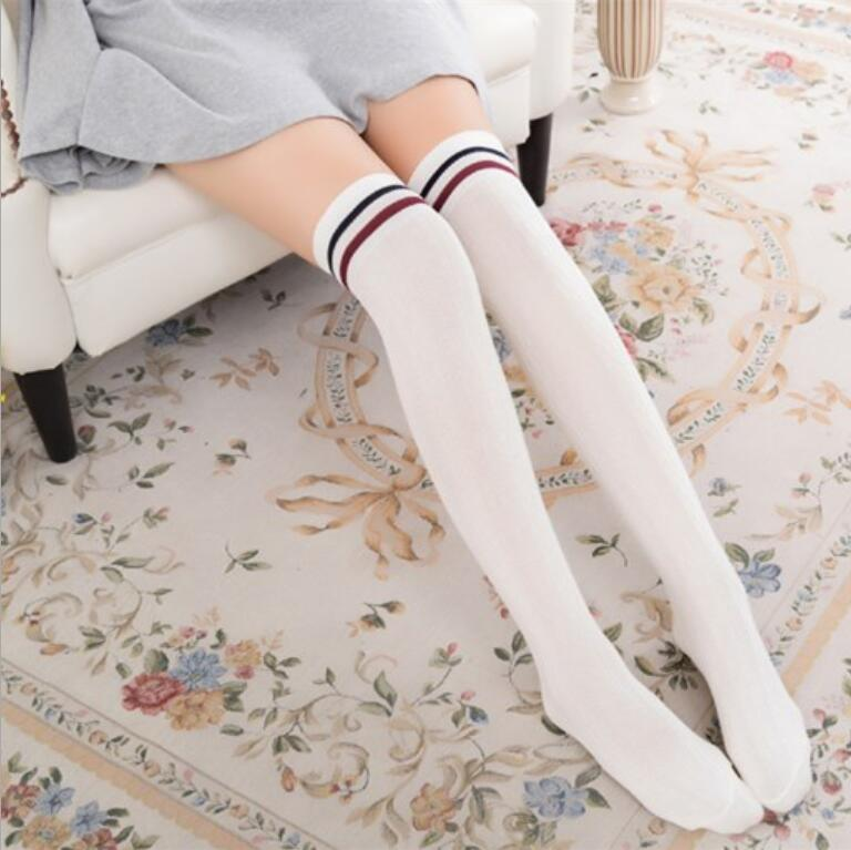 Fashion Striped Knee Socks Sexy Warm Long Stocking Women Cotton Thigh High Over The Knee Stockings For Ladies