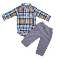 Kids Boys Red Blue Long Sleeve Plaid Romper Shirt 2pcs Spring Autumn Baby Boys Long Sleeve